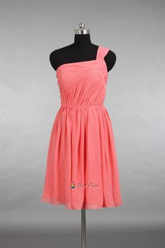 NextProm.com Offers High Quality Coral One Shoulder Bridesmaid Dresses,Short One Shoulder Coral Chiffon Dress,Priced At Only USD USD $84.00 (Free Shipping)