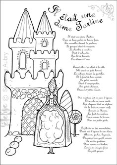 """""""Il était une dame Tartine"""" printable coloring page and song lyrics Pattern Coloring Pages, Coloring Pages For Kids, French Poems, Castle Crafts, Learn To Speak French, Fairy Birthday Party, French History, Rhymes For Kids, Teaching French"""