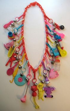 VINTAGE 80's Plastic Bell Clip CHARM NECKLACE Loaded RETRO #8
