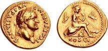 Ancient Coins - TITUS as CAESAR, 69-79 AD. (AV AUREUS 7.30g 19mm 6h) Rome Mint (Calico R-1) [Ex. NAC.#2652]  Roma/Romulus/Remus RV. NEAR EF