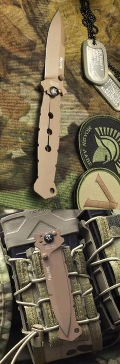 Fox Hector SUF Folding Knife Blade,3.625in,Stainless Desert Tan Blade,Desert Tan Handle FX-504 @aegisgears