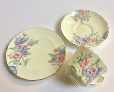Vintage china tea cup saucer set Foley China pink flowers