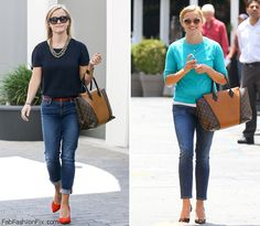 Reese Witherspoon carrying Louis Vuitton W handbag