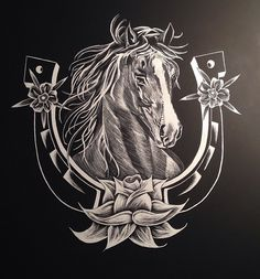 Horse and horseshoe scratchboard. 11x16. Not for sale. 2014.