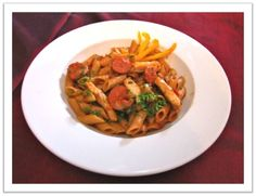 Sautèd chicken strips and spicy chorizo sausage with penne pasta in a light Napolitana Sauce at until 1 Dec 2012 Napolitana Sauce, Chorizo Sausage, Chicken Strips, Penne Pasta, Spicy, Spaghetti, Dishes, Ethnic Recipes, Food