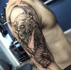 Blackwork elephant tattoo by Fredão Oliveira