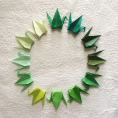 1000 3 Green Tones Tant Paper Origami Cranes by OrigamiLandDeco