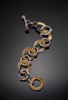 Bracelet | Patrik Kusek.  PMC Sterling, Aura 22 hand formed and hand carved.
