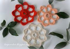 Crochet Flower Applique ~ free pattern ᛡ