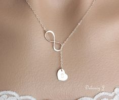 Infinity lariat necklace initial heart necklace by DelicacyJ, $34.00