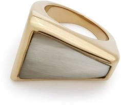 Maiyet Geometric Sculpt Ring with Inlay in Gold (Natural Horn) - Lyst