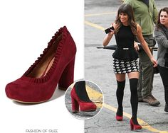 Rachel also wore these pumps in the season premiere, but we could barely see them. Thanks to these set pics we can now confidently ID them! Jeffrey Campbell 'Emily' Pumps - $69.96 (half price!) Worn with: Joie top, Alice + Olivia skirt Also worn in: 5x01 'Love, Love, Love' with Urban Outfitters blouse, Milly skirt, 5x06 'Movin' Out' with Alice + Olivia blouse, Alice + Olivia skirt, Nasty Gal socks, 5x12 '100' with Alice + Olivia ...