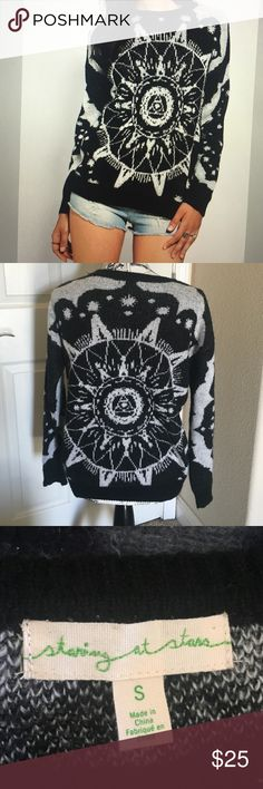 Soft & sweet Staring at Stars sweater, size Small Soft & beautiful Staring at Stars (Urban Outfitters) black & white mystical jacquard sweater. Size small. Very good, gently used condition. So pretty and soft -- looks great with jeans and skirts! Staring at Stars Sweaters