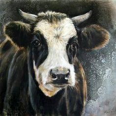 Cow Photos, Cow Pictures, Animal Paintings, Animal Drawings, Deer Skull Art, Farm Animals, Cute Animals, Cow Colour, Cow Painting