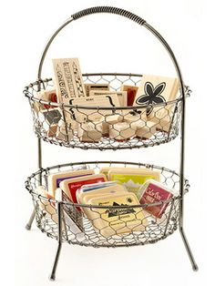 Let freshly washed stamps dry undisturbed by organizing them in a wire basket. Tiered wire baskets keep stamps and ink tidy and ready for use.