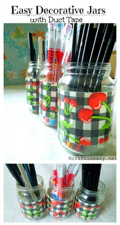 Upcycle baby food jars with duct tape Duct Tape Projects, Duck Tape Crafts, Washi Tape Crafts, Mason Jar Crafts, Mason Jars, Baby Food Jars, Jar Labels, Homemade Gifts, Easy Crafts