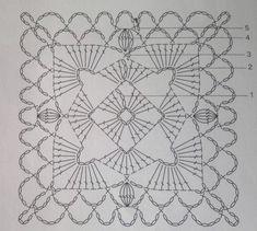 Crochet Bedspread Pattern, Baby Afghan Crochet Patterns, Crochet Motifs, Granny Square Crochet Pattern, Crochet Blocks, Crochet Diagram, Crochet Squares, Filet Crochet, Crochet Wool