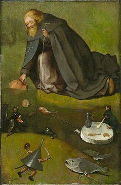 « La Tentation de saint Antoine » (fragment), vers 1500-1510, huile sur chêne…
