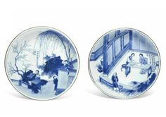 Lot 123. Two blue and white 'Romance of the Western Chamber' narrative dishes, Kangxi period (1662-1722). Estimate £4,000 -...