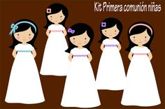Archivo digital de descarga inmediata con imágenes de niñas con motivo de primera comunión.  Para crear hermosas invitaciones, etiquetas y tros