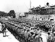 78 OF 100: In this June 1917 file photo, the first troops of the American Expeditionary Force land at the French port of St. Nazaire, France.