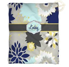 Floral Throw Blanket - Navy Yellow Gray - Floral Throw -Personalized Kids Blanket - Dahlia Girls Throw #371 by EloquentInnovations on Etsy