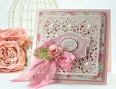 Love the use of a large lacy panel like a screen over patterned paper. Becca Feeken  at Amazing Paper Grace.