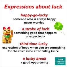 Expressions about luck
