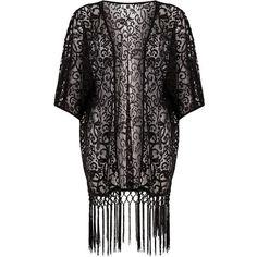 Mela Black Lace Tassel Kimono ($19) ❤ liked on Polyvore featuring intimates, robes, kimonos, outerwear, lace kimono, open front kimono, kimono robe, tassel kimono and lace kimono robe