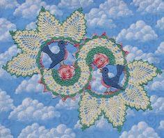 PDF Crochet Pattern- Blue Birds of Happiness Doily Cotton Crochet, Thread Crochet, Filet Crochet, Crochet Doilies, Crochet Flower, Pineapple Backgrounds, Pink Hydrangea, Black Seed, Fabric Glue