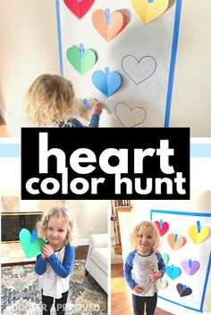 Toddler Approved!: Learning Colors Hunt with Hearts Color Activities, Learning Activities, Toddler Activities, Toddler Games, Preschool Lessons, Preschool Activities, Preschool Learning, Teaching, Valentine Theme