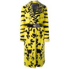 Iconic Very Rare Versace Zebra Animal Intarsia Mink Coat Fall 2013 (2 023 275 UAH) ❤ liked on Polyvore featuring outerwear, coats, animal print coat, mink fur coat, yellow coat, animal coat and versace coat