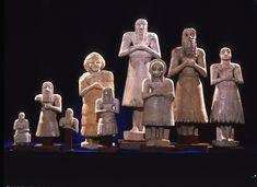 MALE AND FEMALE STATUES   Gypsum Early Dynastic period (ca. 2750-2500 B.C.) Iraq, Diyala Region  #Sumerian