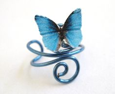Blue Ear Cuff Butterfly Wire Swirl Teen Girls by SpotLightJewelry, $14.95