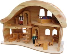 I love the curved roof on this doll house by Norbert Verneuer. Toy House, Gnome House, House 2, Wooden Dollhouse, Dollhouse Furniture, Wooden Dolls, Miniature Houses, Miniature Dolls, Balkon Design