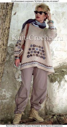 Knitted top with crochet motifs. Crochet Cardigan, Knit Or Crochet, Knitting Patterns Free, Crochet Patterns, Crochet Fashion, Crochet Clothes, Knitwear, Boho, Sweaters