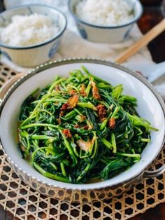 """Ong Choy or water spinach is a popular Chinese leafy green vegetable thats worth pairing with luxurious XO sauce. Ong Choy has become a """"standard"""" offering at Chinese restaurants Hot Pot, Water Spinach, Wok Of Life, Chili Sauce, Soy Sauce, Asian Recipes, Ethnic Recipes, Asian Foods, Chinese Recipes"""