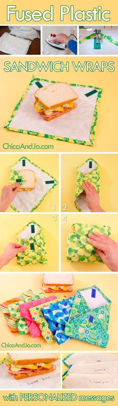 DIY Fused plastic sandwich wraps: cute, but I'm not eating much bread, and R has a sandwich box. For the future?