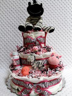 Zebra Baby Shower Diaper Cake LOVE the layered polka dot and zebra ribbons...that's adorable