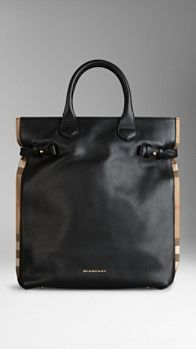 Check Detail Leather Portrait Tote Bag | Burberry