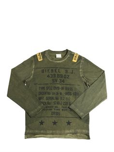 DIESEL KIDS - PRINTED FADED JERSEY LONG SLEEVE T-SHIRT - MILITARY GREEN