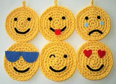 Six Emojis Set of Six Crochet Emojis Made from New Yellow T-Shirt Yarn Wall Hanging Wall Decor Kids Room Or Playroom Childs Gift Crochet Home, Hand Crochet, Free Crochet, Baby Blanket Crochet, Crochet Baby, Tshirt Garn, Crochet T Shirts, Yarn Wall Hanging, Craft Stick Crafts