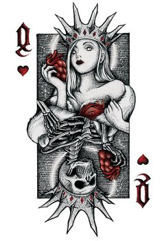 Queen of Hearts by Cripsis Ink – Graffiti World Card Tattoo Designs, Tattoo Design Drawings, Cool Drawings, Queen Of Hearts Tattoo, Queen Of Spades Tattoo, Queen Of Hearts Card, Queen Tattoo, Widder Tattoo, Smal Tattoo