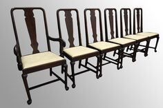 16824 Set of 6 Queen Anne Chippendale Dining Chairs - Maine Antique Furniture