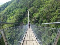 Ponte Tibetano Carasc hangbrug, Zwitersland, Switzerland.