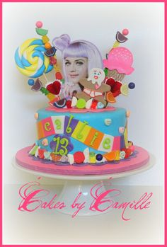 """Katy Perry """"Californa Girls"""" Cake - This cake is based off of Katy Perry's California Girls video. Client also brought me a pic of anna_banna 's Katy perry cake for inspiration. The was super excited! 13th Birthday Parties, Birthday Cake Girls, Birthday Cakes, Birthday Stuff, Birthday Board, 10th Birthday, Birthday Ideas, Teenage Girl Cake, Katy Perry Birthday"""