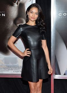 Celebrities In Leather: Shanina Shaik wears a black leather dress Lederlady