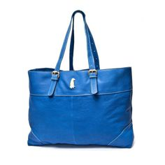 Leather Blue Tote | Betty and Betts