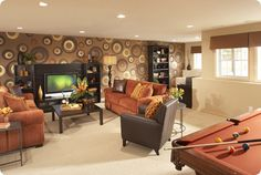 Brown and rust media room