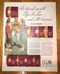 NILE KINNICK VINTAGE 1940 ELGIN WATCH AD IOWA HAWKEYES ORIGINAL | eBay